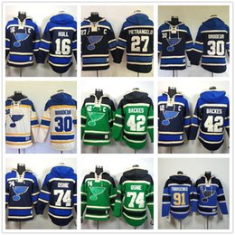 hoodies st louis 2019 - Mens St. Louis Blues hoodies 16 Brett Hull 27 Alex Pietrangelo 30 martin brodeur #42 david backes 74 91 99 Hockey Hoody