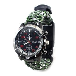 Vendita calda Outdoor Camping Survival Watch Multi Kit di strumenti di emergenza Fischio Bussola Termometro Raschietto Salvataggio Corda Paracord Watch EDC