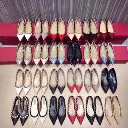 $enCountryForm.capitalKeyWord Australia - Top New Women Flat heels dress shoes rivets girls sexy pointed toe buckle platform pumps wedding party shoes yb20