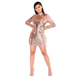 855e97c0d6b Apricot Glitter Sequins Sexy Bandage Dress Women Long Sleeve Backless Club  Party Dress Elegant Ladies O Neck Sheath Mini Dress