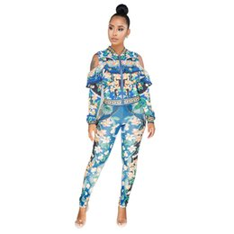 c9996b9e4e9 Plus Size Sweat Suits Women Tracksuit Set Cold Shoulder Ruffle Zipper  Jacket and Pant Ladies Leisure Suit Floral Two Piece Set