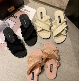 korean flat slippers Australia - Cross slippers women wear fashion wild 2019 summer new Korean version of the net red word drag lazy flat sand wave