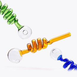 Großhandel Mode Neue Tragbare Mini Länge Spirale Glasrohr Ölbrenner Stroh Glasrohr Neue Mode Ölspirale Glasrohr