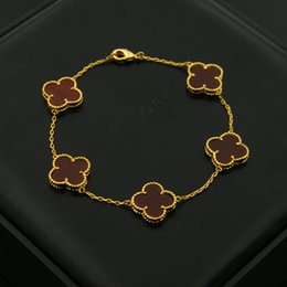 bracelets stones for women 2020 - Top brass bracelet with flower in 5pcs nature stone for women and man wedding gift jewelry Free Shipping PS5273 cheap br