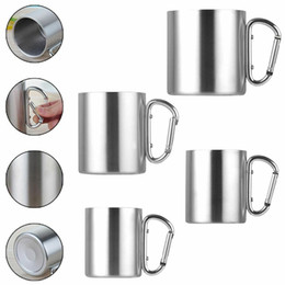 $enCountryForm.capitalKeyWord Australia - 220ml 300ml 350ml 450ml Stainless Steel Cup Camping Traveling Outdoor Cup with Carabiner Hook Handle Outdoor Water Bottle CCA11713 25pcs
