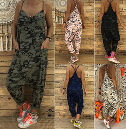 9d32567bcc84 Camouflage rompers online shopping - Summer Women Jumpsuits Camouflage  Print Spaghetti Strap V Neck Casual Sleeveless