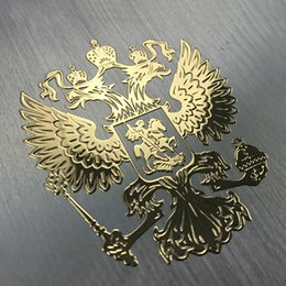 Large Stickers Wall Cars NZ - Home Decoration Stickers Coat of Arms of Russia Nickel Metal Stickers Decals Russian Federation Eagle Emblem for Car Styling Laptop Sticker