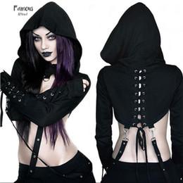 Punk clothing online shopping - Woman Clothes Arrivals Women Gothic Punk Hoodies Short Sleeve Bandage Sexy New Vampire Halloween Sweatshirt Crop Top Drop Shipping