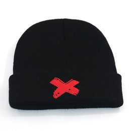 fashion hip hop girls NZ - New xxxtentacion hat embroidery cotton hip hop beanie cap fashion black knitted beanies for Autumn Winter warm hats unisex