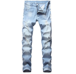 $enCountryForm.capitalKeyWord Australia - Newest Men Distressed Ripped Elastic Light Blue Jeans Retro Designer Washed Printed Slim Fit Straight leg panelled Denim Pants CJ1634