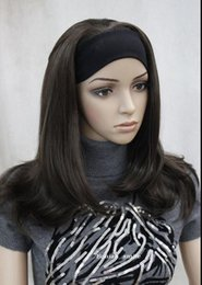 $enCountryForm.capitalKeyWord Australia - WIG FREE SHIPPING Hot heat resistant Party hair>>>Fashion Dark Brown Medium long women Daily 3 4 half wig with headband