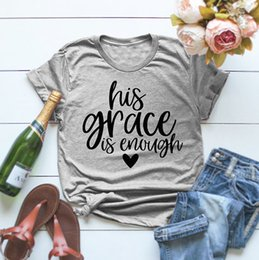 $enCountryForm.capitalKeyWord Australia - His Grace Is Enough T-shirt Christian Jesus Gray Clothing Tee His Grace Is Sufficient Cotton Graphic Tops Slogan Outfits S-3xl