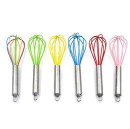 wholesale wire whisk UK - 10 Inch Wire Whisk Stirrer Mixer Egg Beater Color Silicone Egg Whisk Stainless Steel Handle household Baking Tool SN1092