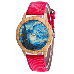 Discount painted glasses - Abstract Painting Pattern Strap Luxury Fashion Denimr Cheap Wristband Classic Women Quartz Watch Girls Valentine Gifts 2