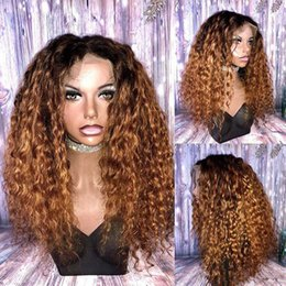 Discount long bleached blonde hair - Brazilian Ombre Deep Wavy Glueless Full Lace Human Hair Wigs 1B 30 Blonde Two Tone Lace Front Wigs 180 Density Bleached
