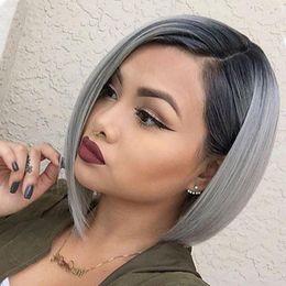 $enCountryForm.capitalKeyWord Australia - Ilaria 1B Grey Dark Root Blonde Short Lace Front Bob Human Hair Wig With Baby Hair Brazilian Human Ombre Bob Wig For Black Women