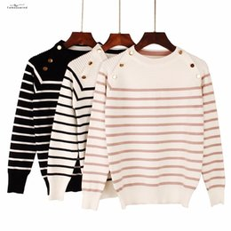 Wholesale black v neck jumpers for sale - Group buy Sweater Autumn New Winter Women Female Fashion Striped Designer Casual Jumper O Neck Long Sleeves Pullover Sweater