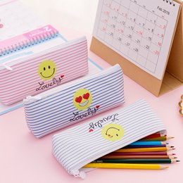 $enCountryForm.capitalKeyWord Australia - Cute Pencil Bag & Case Pu Leather Emoji Smile Stripes Student Girls Cartoon Pink Storage Bags for School Supply Stationery