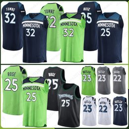 9d59ddcd436 Minnesota 25 Rose Derrick Timberwolves Jerseys 32 Towns Karl-Anthony 23  Jimmy 2019 new Butler Embroidery Logos Basketball Stitched Jersey