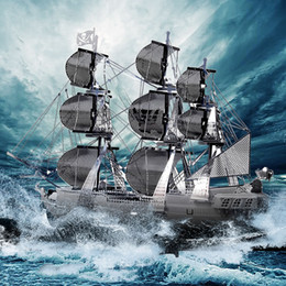 pirates pearl NZ - Pieccecool 3D Metal Puzzle Toy DIY Assembly Ship Model Pirate Ship Sailboat Models Black Pearl Dcoration Toys For Children Gift