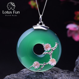 lotus flower designs NZ - Lotus Fun Real 925 Sterling Silver Handmade Fine Jewelry Shell Plum Flower Design Pendant Without Chain Acessorios For Women Y19061003