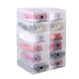 wholesale shoes boxes quality UK - 10pcs in 1 High Quality Clear Foldable Plastic Shoe Storage Case Boxes Stackable Organizer Shoe Holder Hot