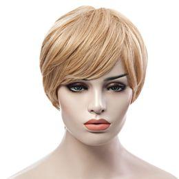 Yaki Human Hair Wigs Bangs Australia - Trendy Fluffy Side Bang Elegant Charming Short Straight Human Hair Women's Capless Wig