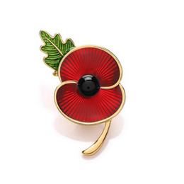 Chinese  1.8 Inch Red Enamel Poppy Flower Brooch with Green Leaf UK Remembrance Day Souvenir Gifts manufacturers