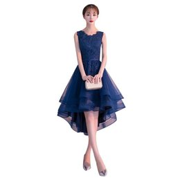 Purple Tulle Balls UK - Navy Blue Tulle with Lace High Low Bridesmaid Dresses 2020 Short Party Dress robe mariage femme