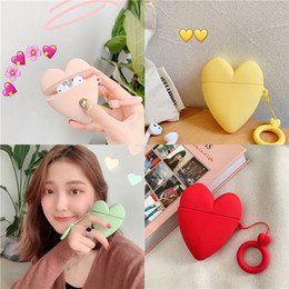 cute earphones for iphone NZ - For airpods Silicone case airpods cover cute solid color heart iphone wireless bluetooth headset case anti - fall