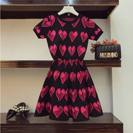 $enCountryForm.capitalKeyWord NZ - 2019 New Fashion Summer Women's Love Pattern Knitted Top + High Waist A-line Skirt Two Piece Female Girls Knitting Skirt Suits Y19042901