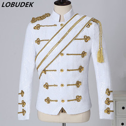 dress epaulets Australia - Men's Vintage Uniform Shiny Black White Sequins Fringe Epaulet Jacket Stand Collar Court Dress Rock Band Singer Costume