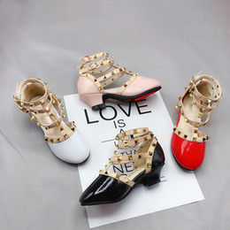 $enCountryForm.capitalKeyWord Australia - Runway Girls Rivet Shoes 2019 New White Red Black Pink Sandals Kids Girl Leather Shoes for Party Princess Children Wedding Shoes Size 27-35