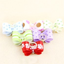 Dog Grooming Hair Clip Australia - Color Random Dog Kitten Puppy Cute Pet Grooming Floral Solid Cotton Bow Flower Hairpins Butterfly Hair Clips Hair Barrette