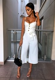 Low V Jumpsuit NZ - Solid Straight Rompers Summer Sleeveless Overalls For Women Lace Up V Neck Long Playsuit Spaghetti Strap Button Jumpsuit