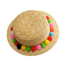wholesale korean cap 2019 - Straw Sun Visor Hat Womens Summer Boho Sweet Rainbow Colorful Pompom Ball Braided Fringed Tassels Wide Brim Beach Caps K