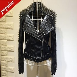 motorcycle jacket liners Canada - Spring Autumn Women Fashion Punk Rivets Snake Pattern Short Pu Leather Jackets Motorcycle Zipper Pu Leather Coats