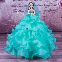 Toy Doll Australia - Single 3d Barbie Wedding Dress A Doll Girl Dance School Activity Six One Gift Toys Gift General