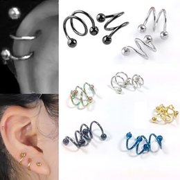Tragus Barbell Wholesale Australia - Mix Colors Gauge 18G Ball Surgical Steel Double Spiral Twister Barbell Earring Ear Cartilage Rings Tragus Piercing Jewelry