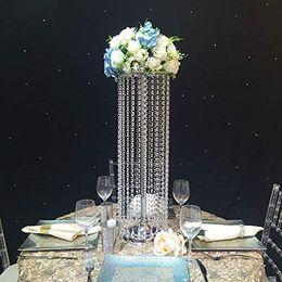 $enCountryForm.capitalKeyWord Australia - Luxury Crystal Table Centerpieces Flower Vase for Decorating Wedding Flowers Candle Decoration Metal Stand Walkway Decor