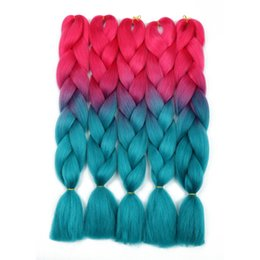 ombre two tone synthetic braiding hair Australia - Two Tones Colors Ombre Jumbo Braids 24inch 5pcs lot Synthetic Jumbo Braiding Hair Extensions Kanekalon High Temperature Fiber 100g Wholesale