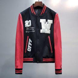 Wholesale mens leather jacket brands resale online – Embroidered Baseball Jacket Men Fashion Brand Red Pu Leather Sleeve Mens Slim Fit Varsity Sweatshirt Eagle Veste Homme