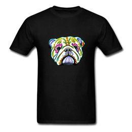 Comfort Cotton T Shirts UK - Band T Shirts Comfort Soft O-Neck Short-Sleeve Shirt Bulldog Day Of The Dead Sugar Skull Dog For Men