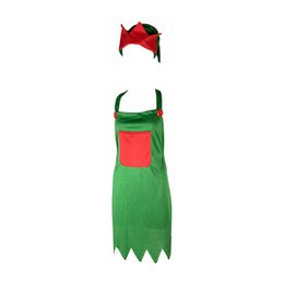 Cotton Set Aprons Australia - 1 Set Christmas Themed Apron & Hat Dinner Restaurant Servants Kitchen Aprons Costume Accessory for Carnival Holiday Festival