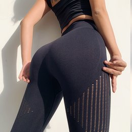 yoga pants designs 2020 - Wmuncc Energy Seamless Gym Legging Women Summer Thin Yoga Pant Breathable Fitness Sports Capri Pant Hollow Out Design Hi