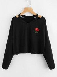 $enCountryForm.capitalKeyWord Australia - Autumn Sweatshirts For Women 2019 Rose Printed Off Shoulder Female Jumper Pullover Casual Long Sleeve Elegant Clothes Sweatshirt