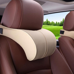car pillows NZ - PU Leather Auto Car Neck Pillow Memory Foam car pillow Neck Rest Seat Headrest Cushion Pad High Quality