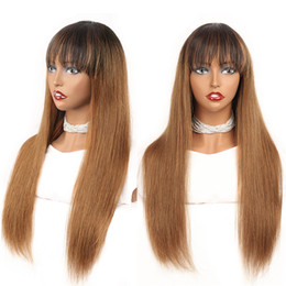 dark brown human hair lace wigs 2021 - Medium Auburn Ombre Wig Machine Made Peruvian Remy Straight Human Hair Wig With Bangs Colored 1B 30 No Lace Glueless Wig