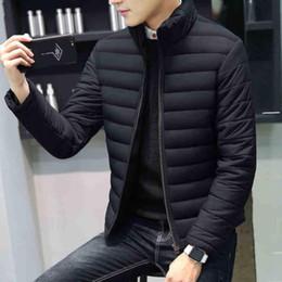 Wholesale korean coats male resale online – UNVIOS KUNI Winter Men Coat Fit Slim Solid Warm Cotton Dress Casual Homme Zipper Coats Korean Version Parkas Male Q5173