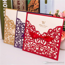 Laser Cut Wedding Invitations 2017 Purple Gold Red White Party Invitation Cards Inner Sheet Envelope Free Personalized Printing